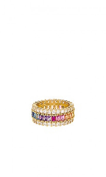 Кольцо three row rainbow - The M Jewelers NY